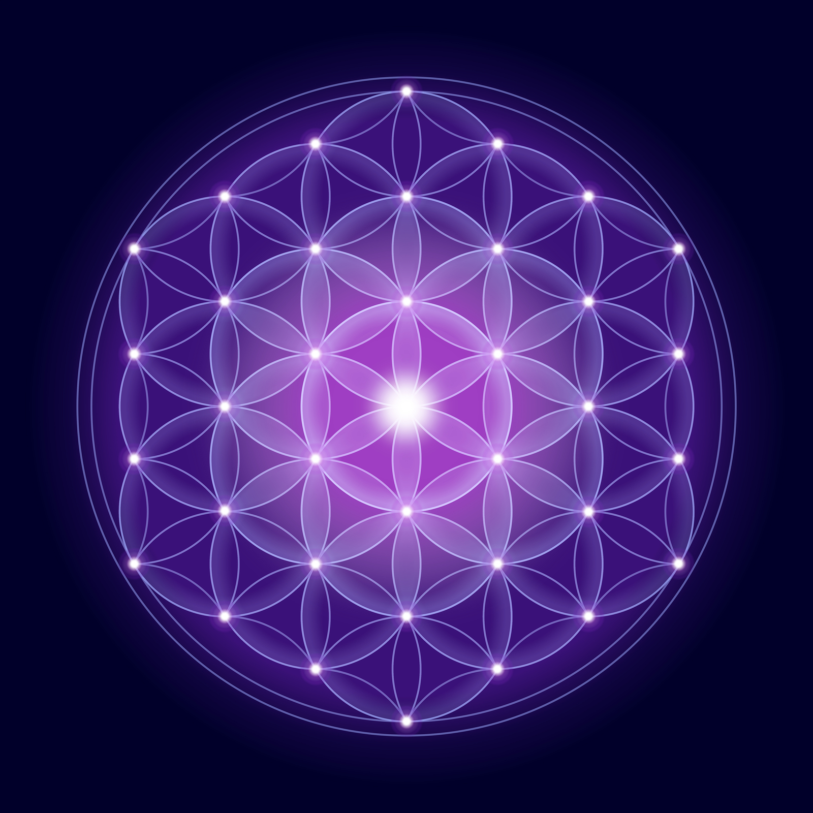 Bright Flower of Life with stars on dark blue/purple background, a spiritual symbol and icon of Sacred Geometry since ancient times.