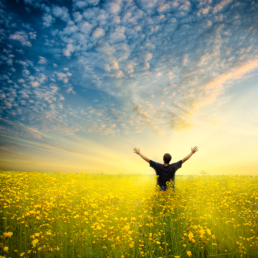 man arms outstretched in radiant field of flowers, clouds above